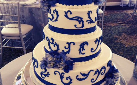 Royal Blue Scrolling Wedding Cake